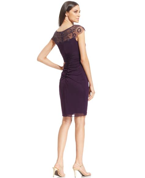 xscape cap sleeve illusion beaded dress in purple lyst