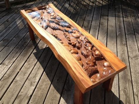 Handmade Custom Coffee Table With Blossom Tree Scene, Hand Carved By Scott, Lazy River Studio by