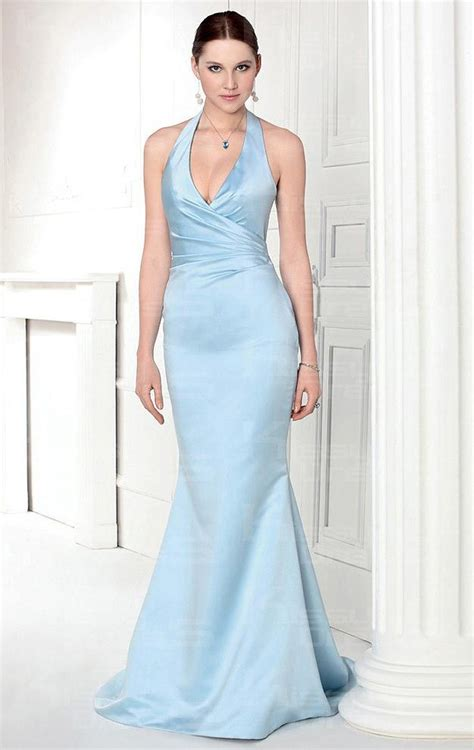 light blue satin dress light sky blue satin mermaid trumpet halter sleeveless