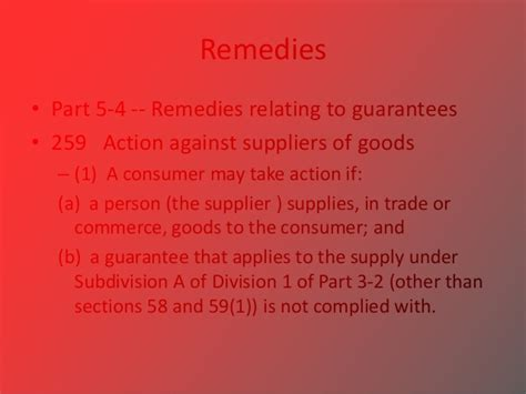 australian consumer law section 54 commercial law consumer guarantees