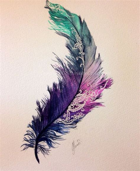 watercolor tattoo quill feather painting print piercings and tatting
