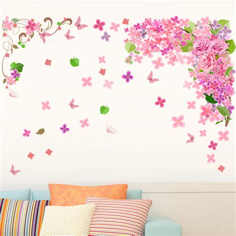 pink wall stickers chic pink glitter butterfly wall stickers pink flower wall decals tech
