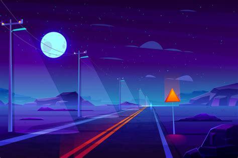 illuminated  night empty highway road  desert cartoon