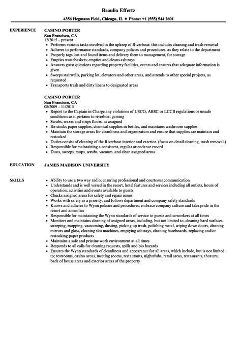 Casino Porter Resume Sles Velvet Jobs Casino Resume Template
