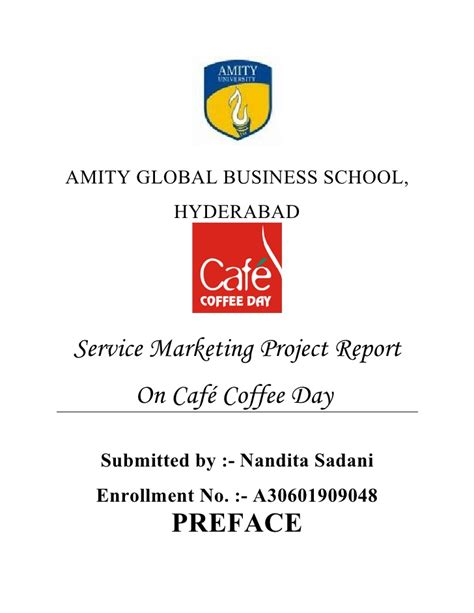 Mba International Business Project Reports Free by Cafe Coffee Day