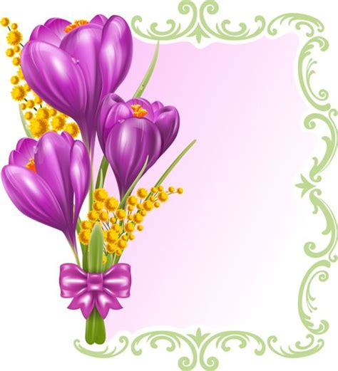 Flowers Gift Card - http freedesignfile com 95982 beautiful purple flower card vectors 02 flower