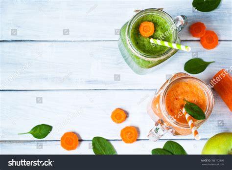 Fruit Veggie Smoothie Detox by Orange Green Fruit Vegetable Smoothie Healthy Stock Photo