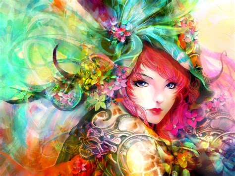 wallpaper colorful portrait art painting girl eyes face flowers red hair