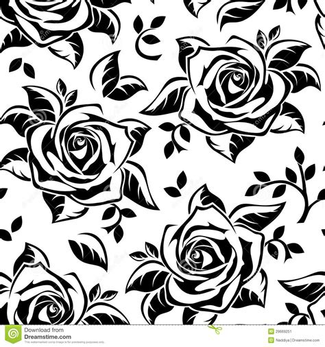 black pattern rose vector sseamless pattern with roses silhouettes stock