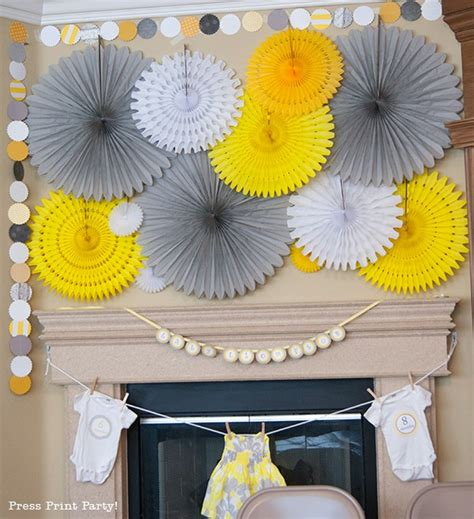 a sunny baby shower in yellow and gray press print party