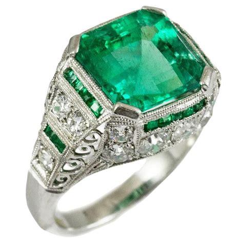 exceptional deco emerald platinum ring