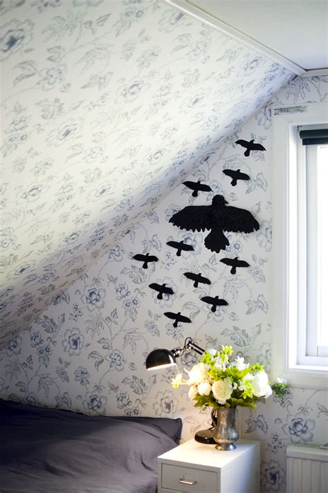 diy paper home decor picture of diy black ravens on the wall for halloween