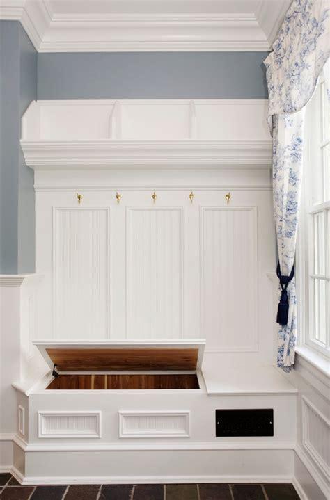 corner mudroom bench  white shelves front door narrow