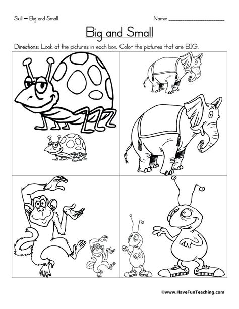 big and small worksheets for preschool skgold co
