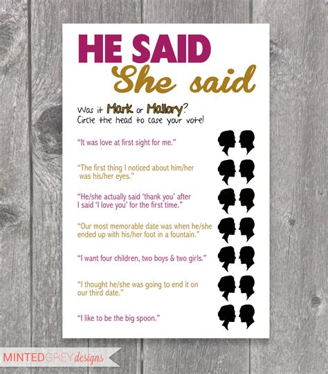 printable he said she said bridal shower