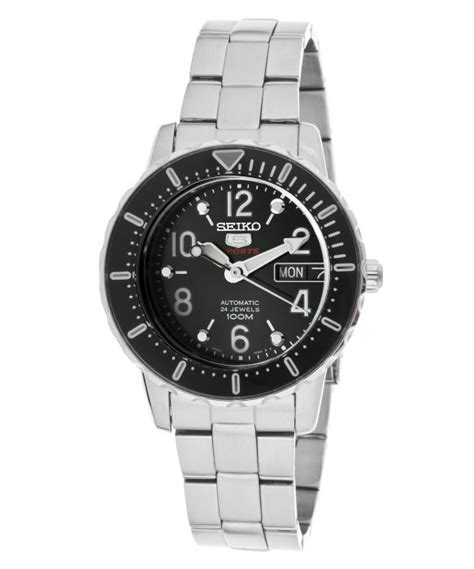 Seiko 5 Snkk59k1 Silver Black seiko womens 5 sports automatic black stainless steel in silver black lyst