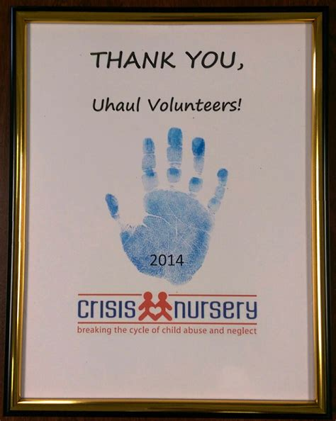 Thank You Letter To Nursery U Haul Volunteers Help From Crisis Nursery My U