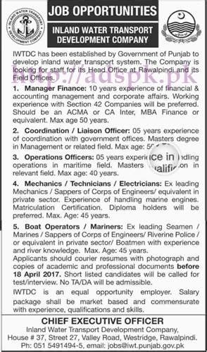 boat financing jobs new jobs inland water transport development company