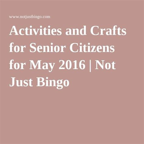 senior citizens games activities for senior citizens and calendar may activities and bingo on pinterest