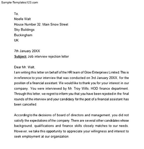 Response Letter To Unsuccessful Candidate Sle Rejection Letter Employer Thank You For The Phone Email After