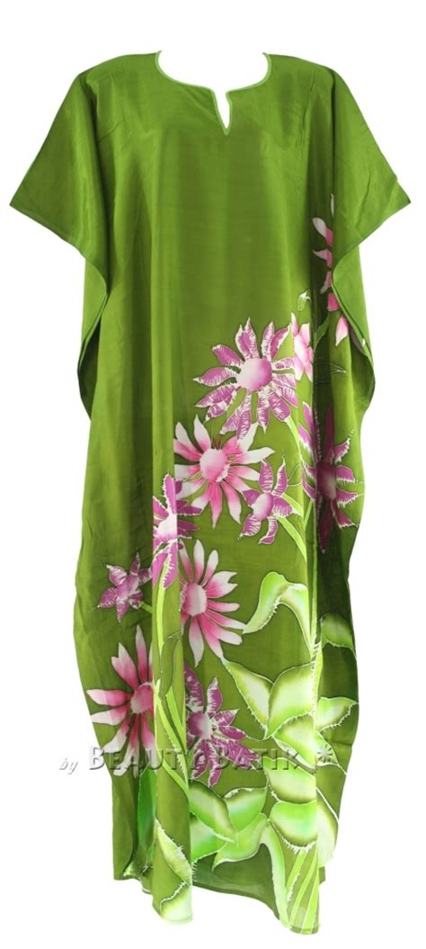 Hn Dress Batik Bunga Fit L olive batik caftan kaftan dress sz 14 16 l xl 1x ebay
