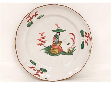 Assiette faïence Les Islettes décor chinois fumant pipe