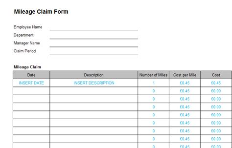 Finance Templates Page 3 Of 6 Bizorb Business Mileage Form Template