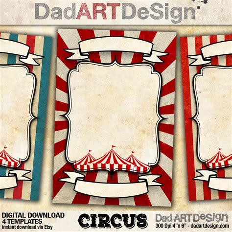 customizable card templates 4 circus vintage customizable card templates dadartdesign