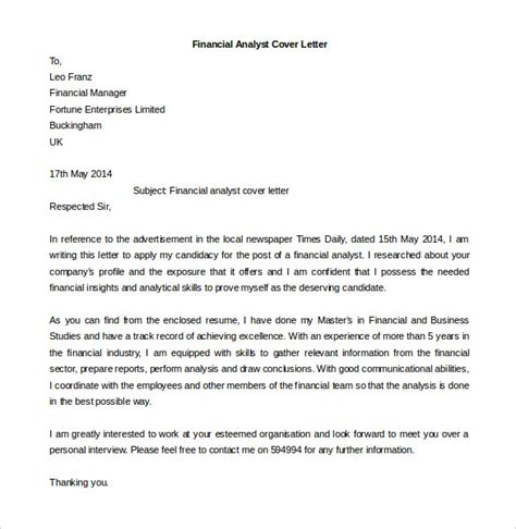 financial analyst sle cover letter 15 best sle cover letter for experienced