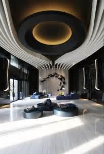 organic ceiling design black  white focus