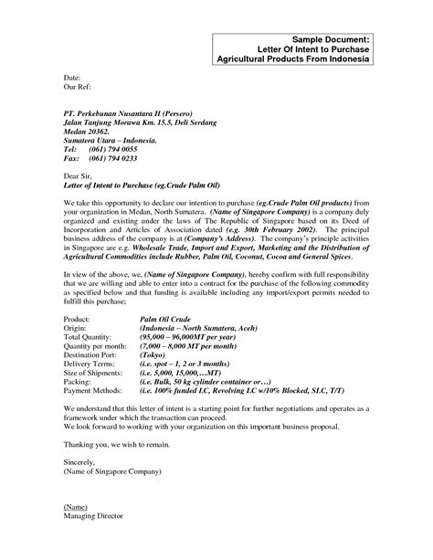 Letter Of Intent To Purchase Agricultural Products Best Photos Of Sle Business Letter Of Intent Letter Of Intent Business Partnership