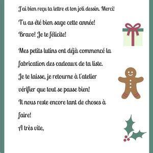 Modele De Lettre Reponse Du Pere Noel Gratuit