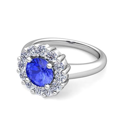 ceylon sapphire and halo engagement ring in 18k