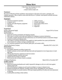 picker and packer resume sle my resume