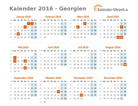 Kalender 2016 Feiertage Feiertage 2016 Georgien Kalender 220 Bersicht