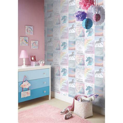 Wall Art Stickers For Bedrooms believe in unicorns wallpaper multi wallpaper b amp m