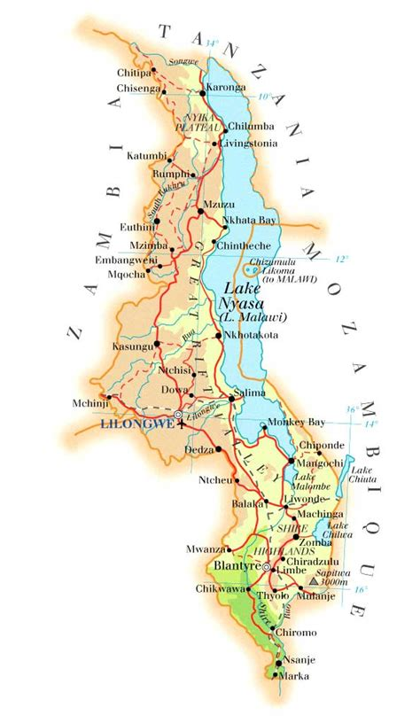geographical map of malawi malawi help2kids we help now