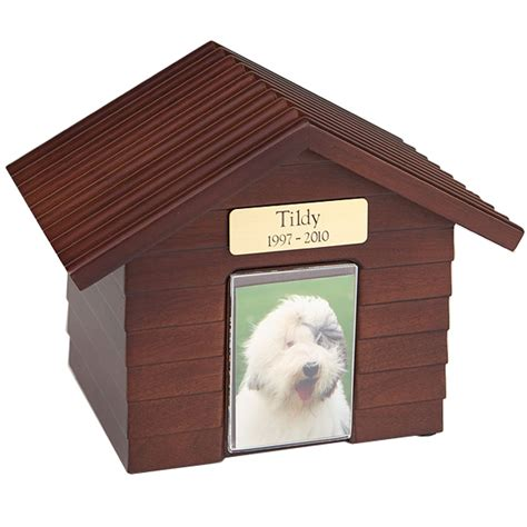 dog house urn pet urn k 9 cottage dog house urns walnut
