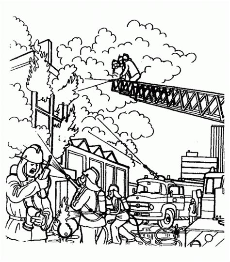 Fireman Coloring Pages Coloringpages1001 Com Firefighter Coloring Page