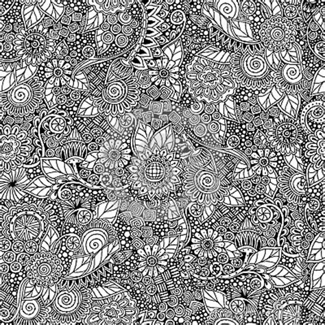 black and white henna wallpaper seamless floral retro doodle black and white stock vector