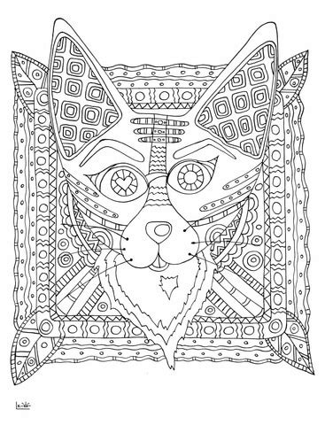 tribal pattern coloring pages fox with tribal pattern coloring page free printable
