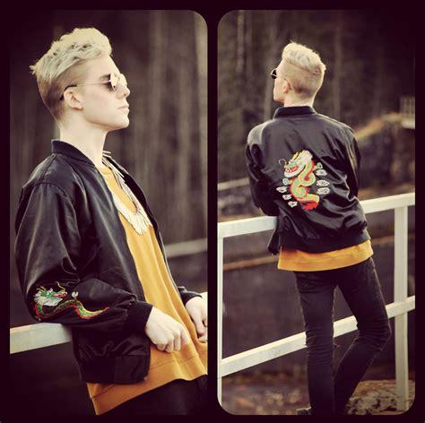 Jacket Consina Edelweiss Rd robbie jonsson secondhand varsity jacket weekday yellow sweatshirt sunglasses bikbok