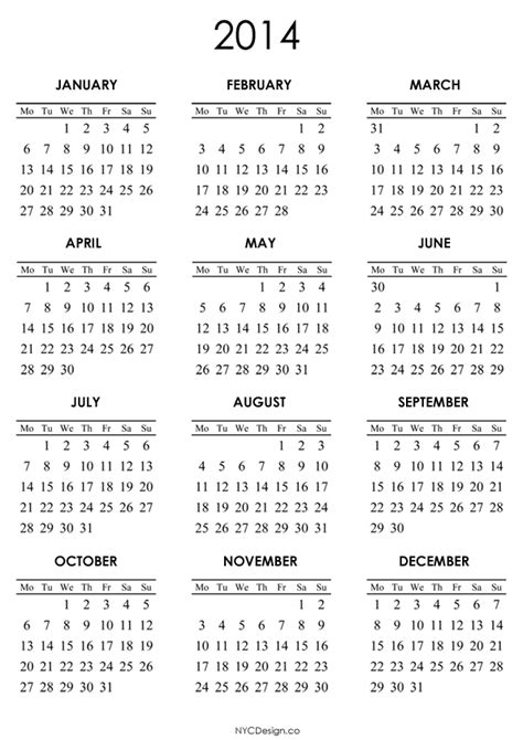 Calendar Template For 2014 2014 printable calendar templates
