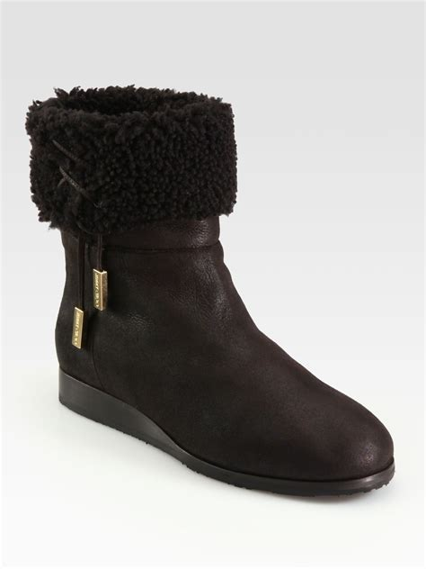 jimmy choo lace up suede shearling boots in brown lyst