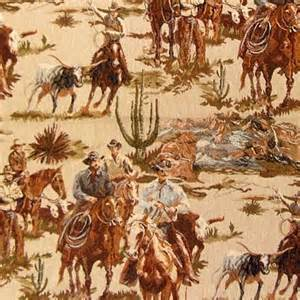 How To Measure Fabric For Upholstery Cowboy Round Up Scenic Tapestry Fabric Rustic Western