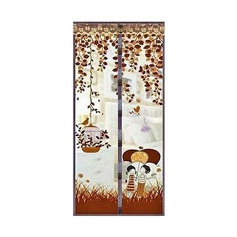 Tirai Pintu Magnetik Motif Anti Nyamuk Dan Serangga Penguin Magic Mesh jual tirai magnet anti nyamuk motif coklat