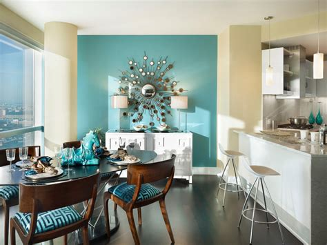 accent wall dining room creating a warm and calm situation at home with blue accent wall