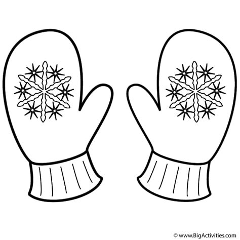 Mitten Color Page mittens with snowflakes coloring page
