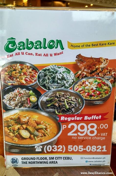 buffet at the price buffet with a fair price at cabalen restaurant iway diaries