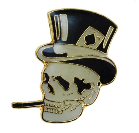 skull top hat cigar cool biker hat or lapel pin d42